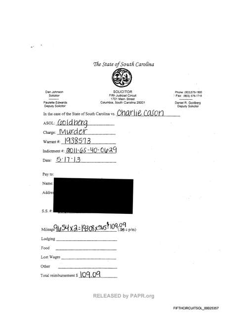 PAPR - Fifth Circuit Solicitor's Office financial records